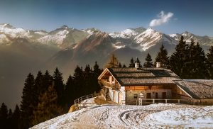 Wintervakantie op een rustige plaats in Europa